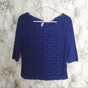 J. Crew blue crochet pattern top Sz XS